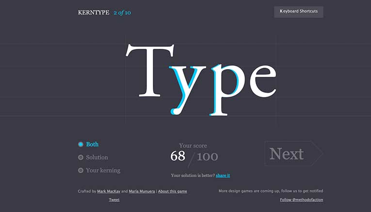 Kern Type, a kerning game