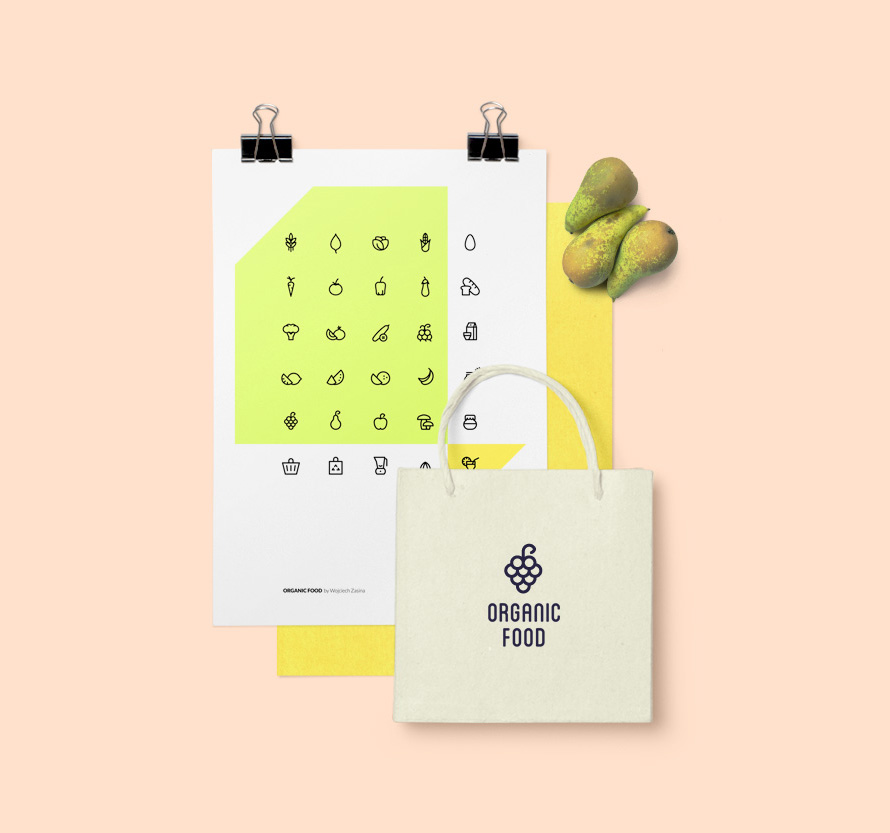 Organic Food Icon Set